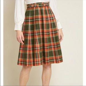ModCloth Pleated Dream Plaid Skirt XL